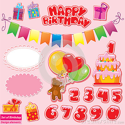 Set of Birthday Party Elements for your design