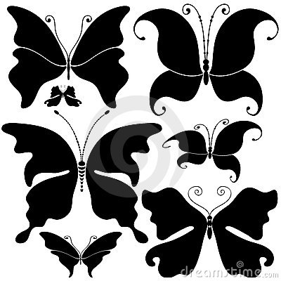 Set black butterflies