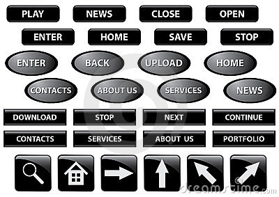 Set of black buttons - vector