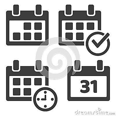 Set of calendar icons. Vector illustration Cartoon Illustration
