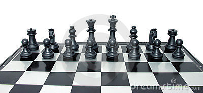 Set of black chess ready to fight