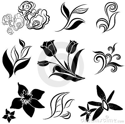 Set of black flower and leafs design elements