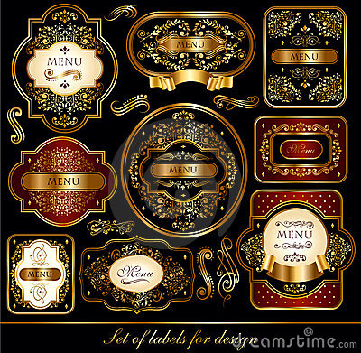 Set of black-golden labels