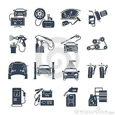 Set of black icons servicing, maintenance, repair car and aut Vector Illustration