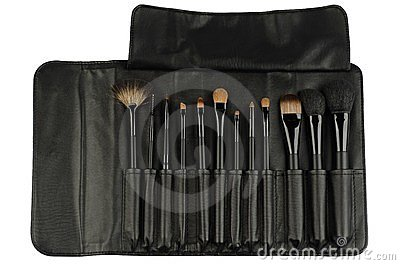 Set of black makeup brushes isolated on white