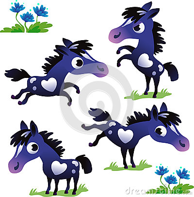 Set of black pony on the white background