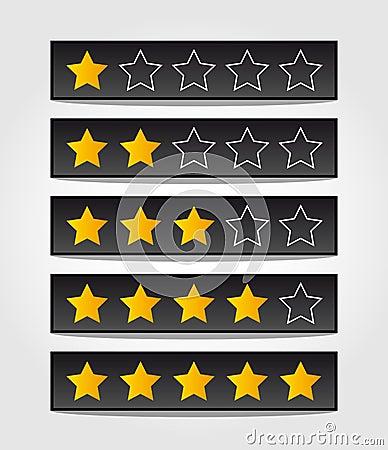 Set of black rating stars