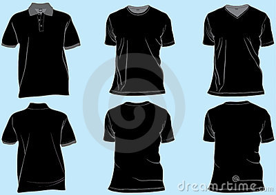 Set of black shirt templates