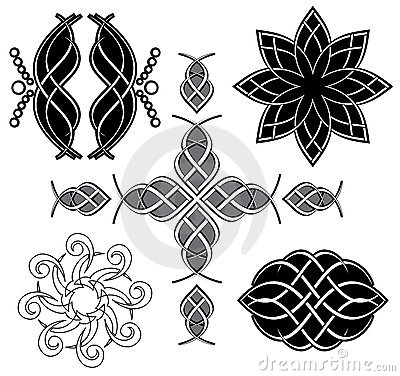 Set of black tracery for design - vector