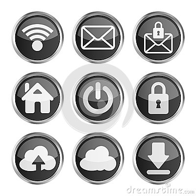 Set of black web icons