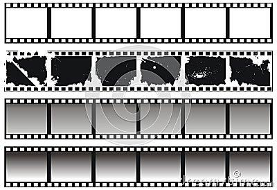 Set of black-and-white filmstrips