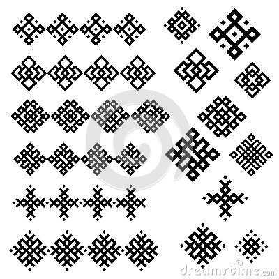 A set of of black and white geometric designs.