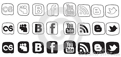 Set black and white vector icons Editorial Stock Image