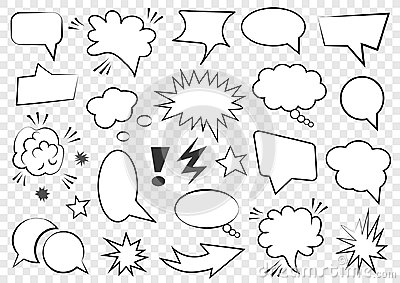 Set of blank template in Pop Art style. Vector Comic Text Speech Bubble Halftone Dot Background. Empty Cloud of Comics book dialog Vector Illustration