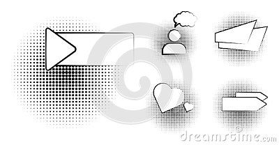 Set of blank template in Pop Art style. Vector Comic Text Speech Bubble Halftone Dot Background. Empty Cloud of Comics Vector Illustration