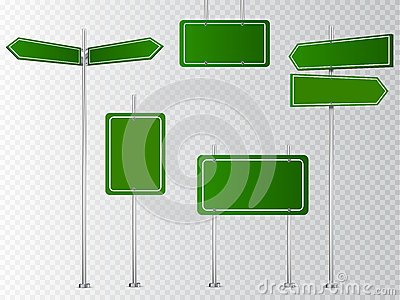 Set of blank vector road signs isolated on transparent background. Vector Illustration