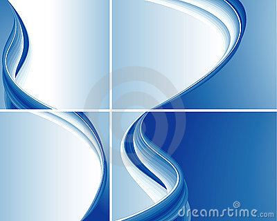 Set Of Blue Abstract Wave Backgrounds