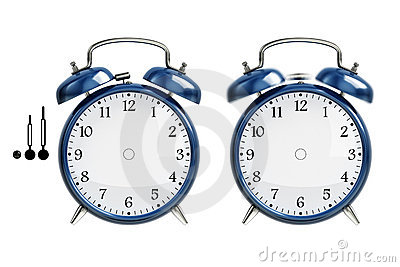 Set of blue alarm clock