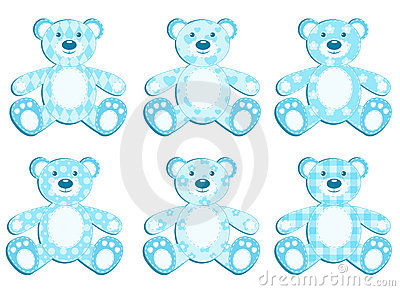 Set of blue applique bear.