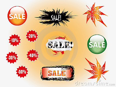 Set of blue discount tickets, sale labels