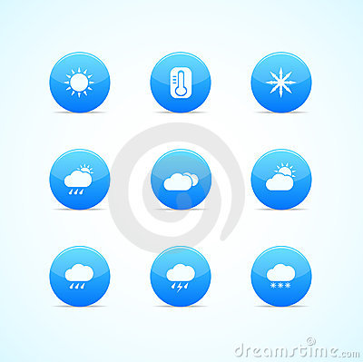Set of blue glossy weather icons