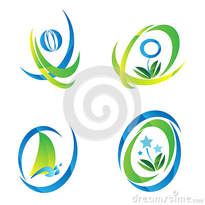 Set of blue & Green Icon Logo Vector Illustration