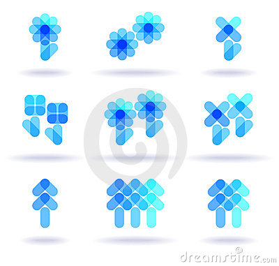 Set of blue logos