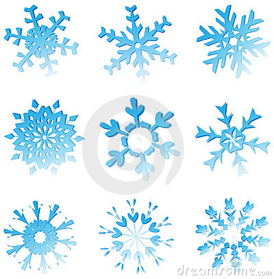 Set Of Blue Melting Snowflakes
