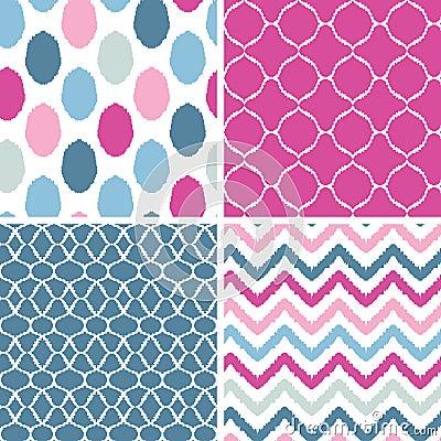 Set of blue and pink ikat geometric seamless