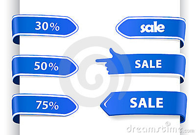 Set of blue sale labels.