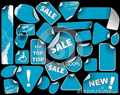 Set of blue sale labels (grunge)