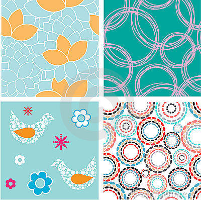 Set of blue seamless patterns