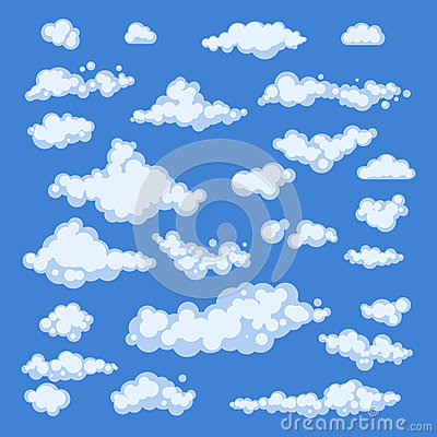 Set Of Blue Sky Clouds Icon Shape Different Collection Label