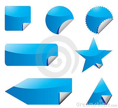 Set of blue stickers