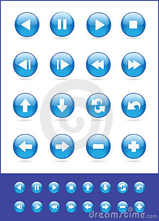 Set of blue vector icons