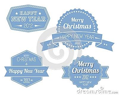 Set of blue vintage retro Christmas labels