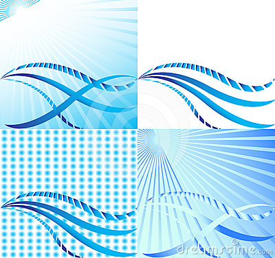 Set of blue waves and sunshine. Vector.