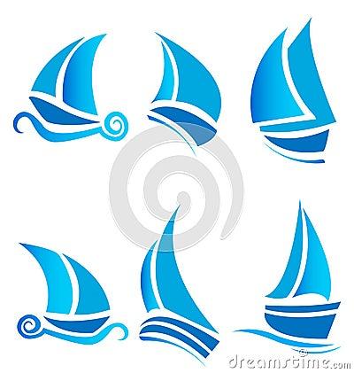 Set of boats ships or cruise logos