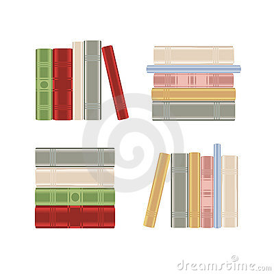 Set of books on a book shelf