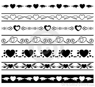 Set of borders for romantic design - vector