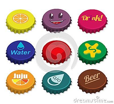 Set of bottle caps