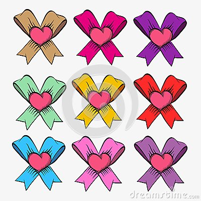 Set of bows with hearts