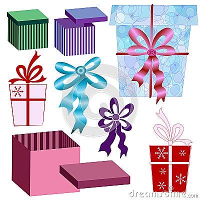 Set boxes and ribbons