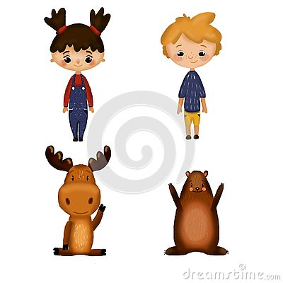 Set with boy, girl and animals Stock Photo