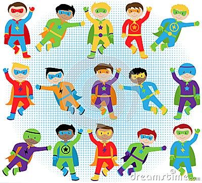 Set of Boy Superheroes in Vector Format Vector Illustration