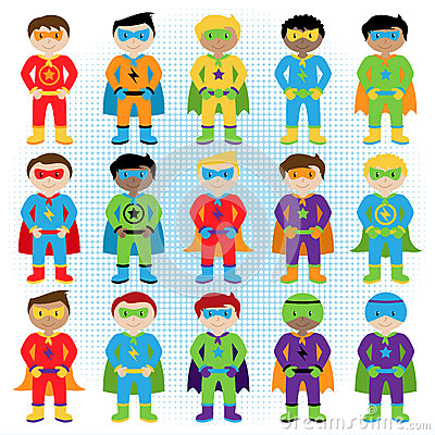Set of Boy Superheroes in Vector Format Vector Illustration