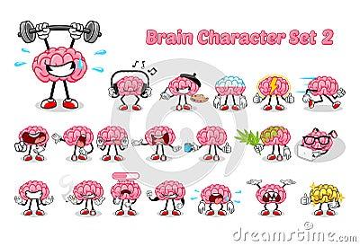 Set of Brain Cartoon Character 2 Vector Illustration