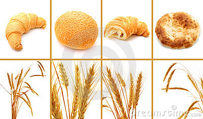 Set of bread and cereals isolated on white