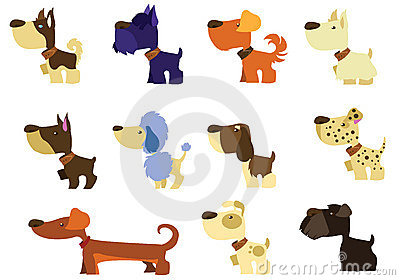 Set breeds of cartoon dog