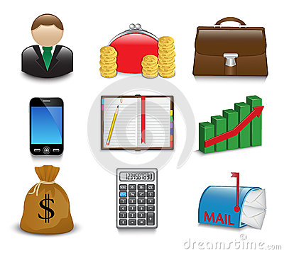 Set of bright business and financial icons